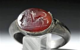 Ancient Roman Silver Ring w/ Carnelian Intaglio
