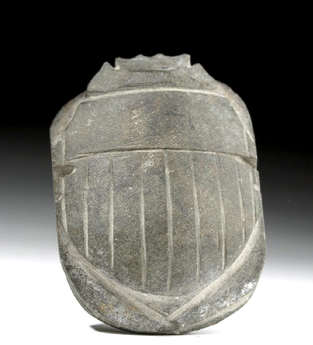 Egyptian Dark Grey Basalt Heart Scarab