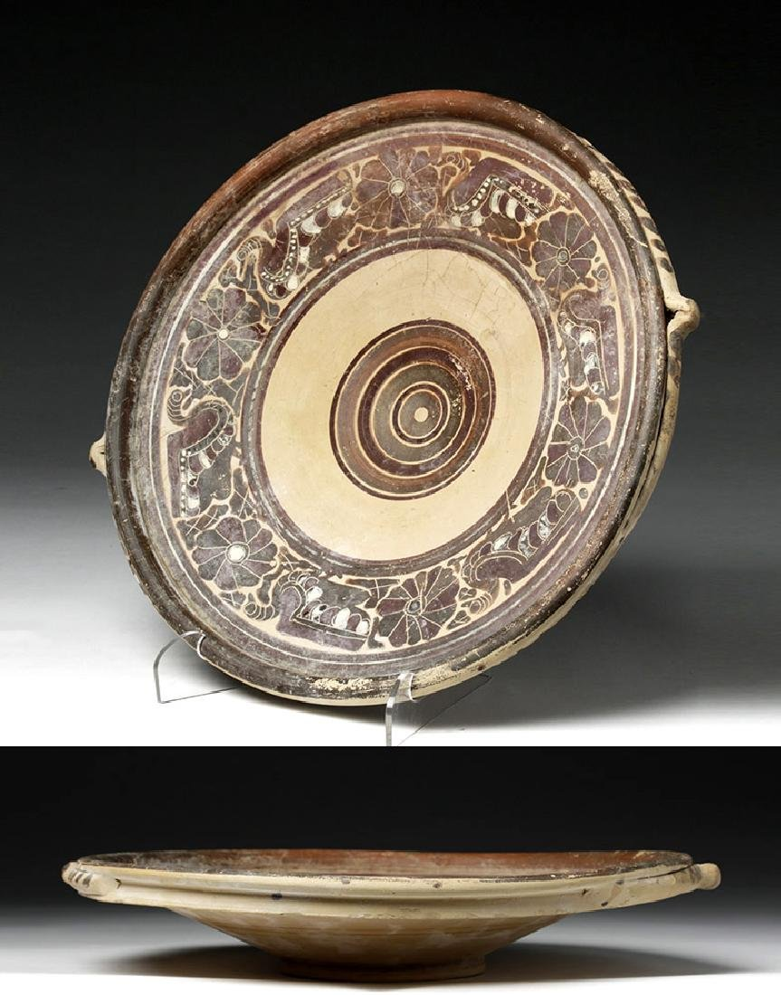Greek Corinthian Pottery Plate with Swans