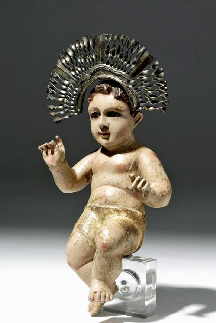 19th C. Mexican Wood Santo - Baby Jesus w/ Tin Crown