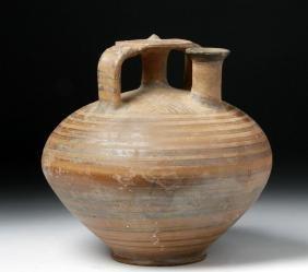 Large Greek Mycenaen Bichrome Pottery Stirrup Vessel