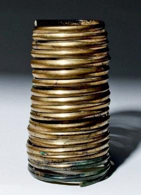 Superb Hallstatt Gilded Bronze Spiral Bracelet