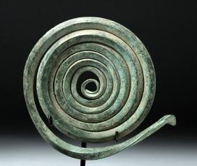 Huge Thracian Bronze Spectacle Fibula Half