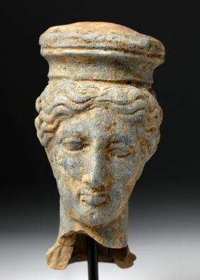 Large Greek Terracotta Head of a Goddess