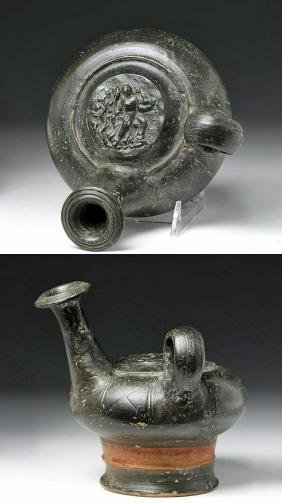 Greek Blackware Pottery Guttos w/ Demeter
