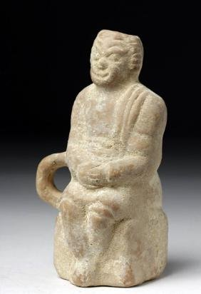 Hellenistic Greek Pottery Vessel of Seated Actor