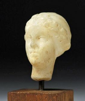 Miniature Hellenistic Marble Head of Female