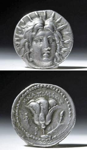 Caria Islands, Rhodes, Silver Didrachm Helios - 220 BCE