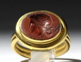 Ancient Roman Red Jasper Intaglio / 22K Gold Ring