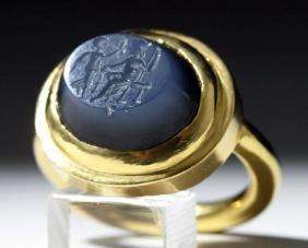 Ancient Roman Stone Intaglio / 22K+ Gold Ring