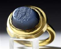 Ancient Roman Stone Intaglio  22K Gold Ring