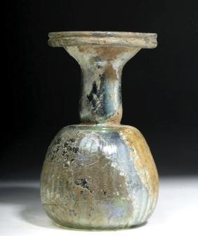 Roman Glass Sprinkler Flask w/ Ribs