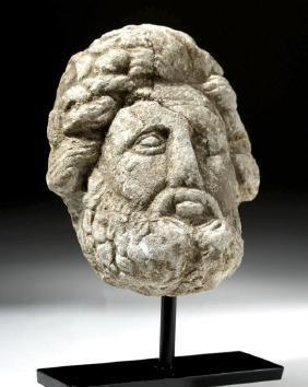 Roman Limestone Head of a God