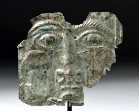 Roman Silver Votive Plaque of a God's Face