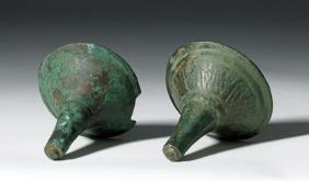 Pair Ancient Luristan Bronze Cymbals