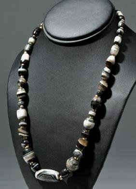 Custom Necklace - Ancient Agate w/ 14K Gold Beads