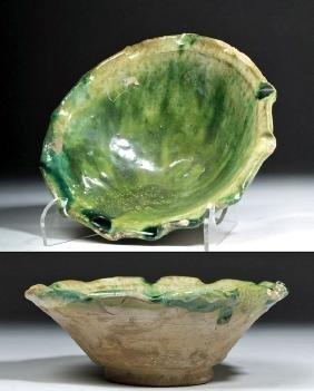 Islamic Terracotta Green Glazed Bowl