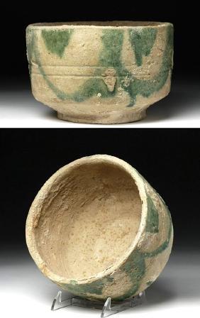 Early Islamic Green Glazed Pottery Bowl