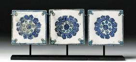 Lot of 3 Islamic Glazed Terracotta Tiles