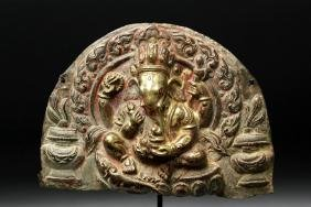 15th C. Nepalese Gilded Bronze Repousse Ganesha