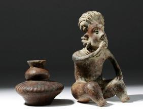 Pair of Nayarit Pottery Objects, Vessel & Smoker
