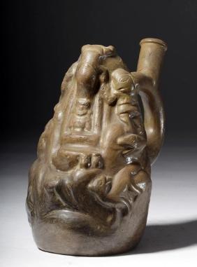 Moche Pottery Stirrup Vessel - Andes Sacrifices