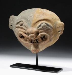 Fine Jamacoaque Pottery Jaguar Mask