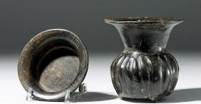 Pair of Fine Teotihuacan Pottery Blackware Vessels