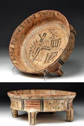 Mayan Polychrome Rattle Tetrapod Plate