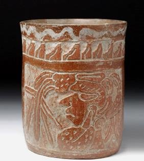 Mayan Carved Redware Cylinder - Lords / Deities