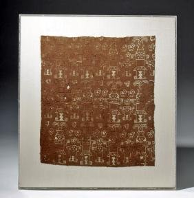 Custom Framed Chimu / Inca Textile, Birds & People