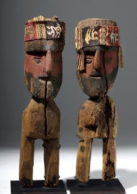 Chancay Wood Standing Male Ancestor Figures (pr)