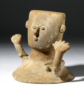 Colombian Pottery Rio Magdelena Urn Figural Lid