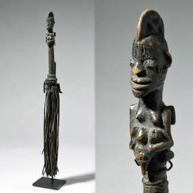 African Yoruban Carved Wood & Leather Fly Whisk