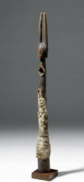 Bamana Side-Blown Carved Wooden Figural Flute