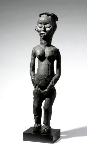 Tall Cameroonian Bamileke Wooden Figure of Chief's Wife