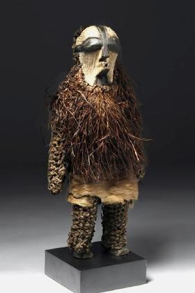 African Songye Wood / Fiber Figure, Female Kifwebe Mask