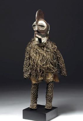 African Songye Wood / Fiber Figure, Male Kifwebe Mask