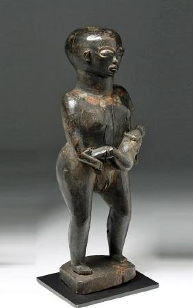 Early 20th C. African Chokwe Wooden Maternity Figure