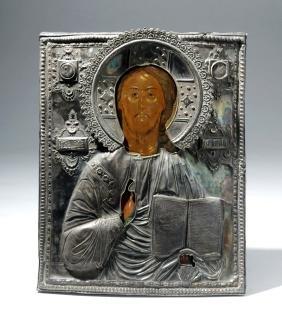 Exhibited 19th c. Russian Icon Christ w/ Silver Oklad