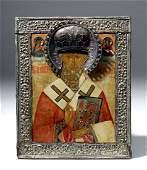 18th C. Russian Icon St Nicholas, Yashinov Gilt Silver