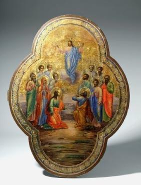 Impressive 19th C. Russian Icon - Ascension of Christ