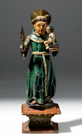 19th C. Mexican Wood Santo of St. Anthony of Padua