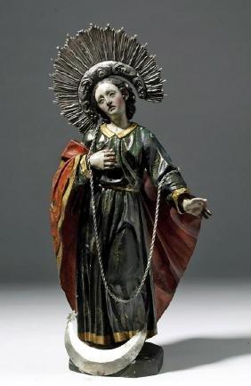 19th C. Mexican Wood Santo - Virgin of the Apocalypse