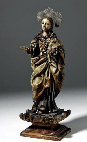 Early 19th C. Mexican Wood Santo - St. Faith