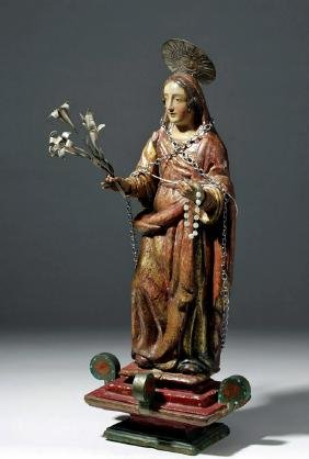 19th C. Mexican Santo - Virgin Mary w/ Silver Flowers