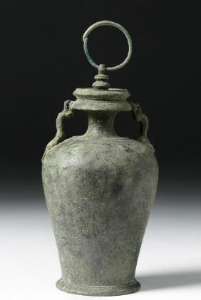 Roman Bronze Lidded Pyxis