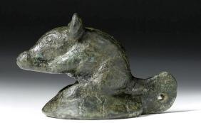 Adorable Roman Bronze Lamp Attachment - Mouse