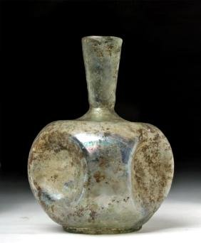 Very Rare Large Roman Glass Bottle w/ Indented Sides