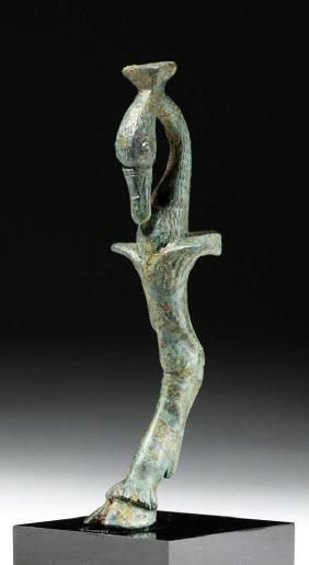 Wonderful Roman Bronze Foot - Faun Leg & Swan Head